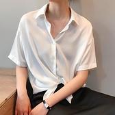 亞麻天絲短袖襯衫女夏季寬松復古港味白色襯衣設計感小眾垂感上衣 衣櫥秘密