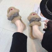 棉鞋毛毛拖鞋女外穿2018秋冬新款韓版百搭軟底蝴蝶結平底一字網紅拖鞋