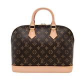 【台中米蘭站】展示品 Louis Vuitton 經典Alma PM帆布手提包(咖)