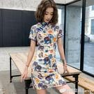 愛裳霓日常新式旗袍改良版洋裝短款文藝卡通復古年輕款少女旗袍 檸檬衣舍