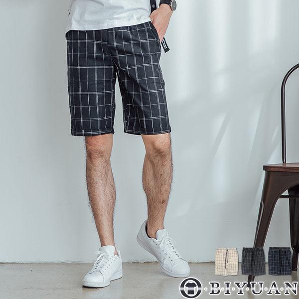 【OBIYUAN】短褲 復古 格紋 反摺 休閒短褲 共3色【X88245】
