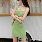 牛油果綠無袖連身裙 2020夏季新款緊身短款方領無袖內搭打底針織裙CH1478【小美日記】