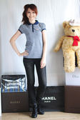 茱麗葉精品 全新名牌  【ZARA】實搭經典款小V細橫條短袖POLO衫(藍) M