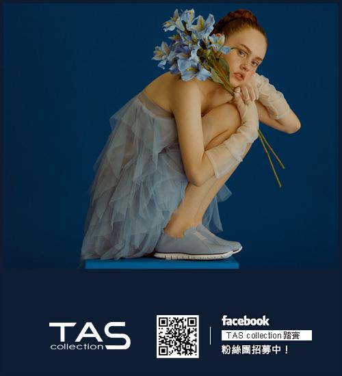 TAS 麻辮交叉編織小坡跟涼鞋-天空藍