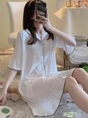 睡裙 女夏季簡約白色寬鬆半袖冰絲春秋薄款睡衣仿真絲綢短袖家居服【快速出貨】