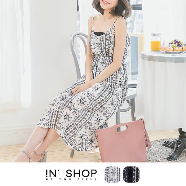 IN' SHOP  夏日印花圖騰細肩長版洋裝 -共2色 【KT23183】