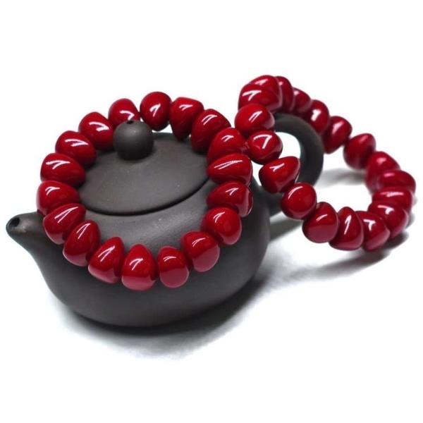 天然紅色珊瑚手串本命年佛珠手錬開光招財轉運情侶款【快速出貨】