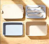 雙層小麥飯盒微波爐加熱帶蓋密封簡約日式保溫塑料便當盒食堂學生 韓慕精品