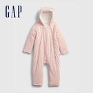 Gap嬰兒 加絨熊耳連帽連身衣外套 739944-淡粉色