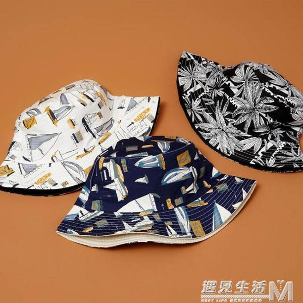 帽子女夏天日系文藝遮陽帽韓版百搭漁夫帽男潮可摺疊雙面盆帽 雙十一全館免運