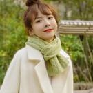 圍巾 牛油果綠色短款小圍巾女韓版純色清新少女學生秋冬季保暖針織圍脖 快速出貨