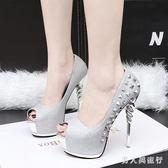 歐美夜店dj酒吧女歌手演出鞋子交叉帶14cm細跟超高跟防水臺涼鞋  AB5008 【男人與流行】