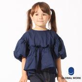 GLOBAL WORK童素色落肩荷葉澎袖前短後長七分袖上衣-二色