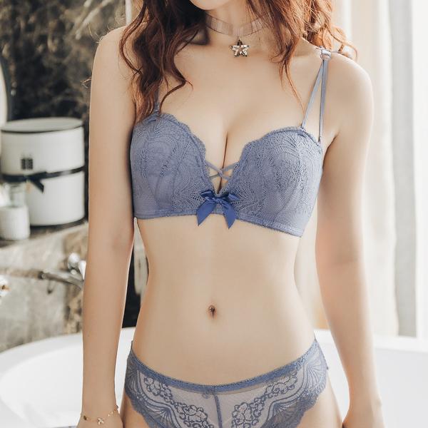 無鋼圈 平口內衣 成套內衣褲 法式半罩杯 優雅蕾絲【沁甜美姬】貝殼蕾絲(藍)