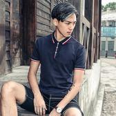 夏季新品韓版男士翻領polo衫修身有帶領英倫棉質短袖T恤 店家有好貨