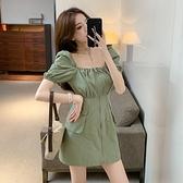 VK精品服飾 韓系燈籠泡泡袖寬領修身收腰拉鏈短袖洋裝