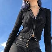 辣妹黑色拉鏈針織開衫新款內搭毛衣外套女緊身歐美打底長袖上衣酷 錢夫人