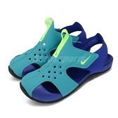 Nike 涼鞋 Sunray Protect 2 PS 藍 綠 童鞋 中童鞋 魔鬼氈 小朋友 運動鞋【ACS】 943826-303
