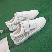 帆布鞋(休閒鞋) 透氣魔術貼小白鞋女