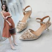 網紗涼鞋女鞋夏季包頭高跟鞋細跟鏤空水鉆中空尖頭一字扣中跟單鞋