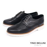 Tino Bellini義大利進中性白底綁帶牛津鞋_ 黑 B73201 歐洲進口款