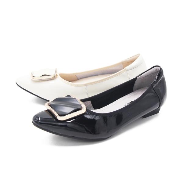 W&M (女)尖頭大釦漆皮娃娃鞋 包鞋 女鞋 -黑(另有米)