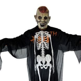 萬聖節服裝成人兒童 道具用品 鬼骨架鬼衣服+爆腦面具