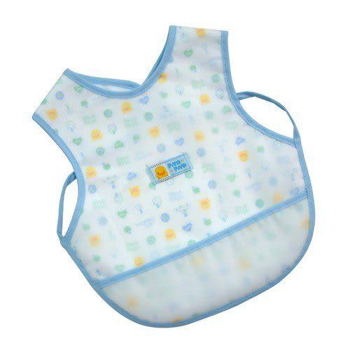 【奇買親子購物網】黃色小鴨雙層防水圍兜(水藍/粉紅)