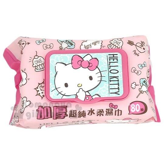 〔小禮堂〕Hello Kitty 80抽附蓋加厚濕紙巾《粉綠.摸嘴》家庭用濕巾.柔濕巾 4715664-50377