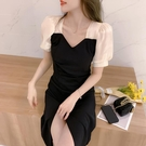 方領洋裝 短袖黑色連身裙女赫本風2021夏裝新款法式氣質中長款開叉小黑裙子 寶貝 免運