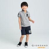【GIORDANO】童裝勝利獅王3D刺繡短袖POLO衫(23 雪花中灰)