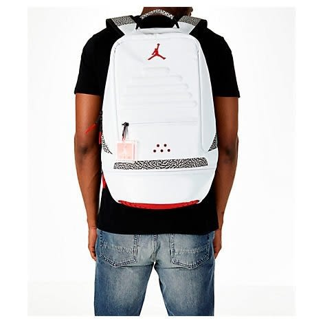 NIKE Air Jordan Retro 3 AJ3 爆裂紋 白紅色 後背包 9A0018-001