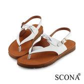 SCONA 全真皮 簡約編織夾腳涼鞋 白色 31015-2