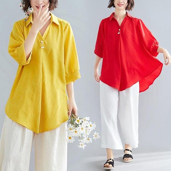 純色棉麻燈籠中袖襯衫夏季新款氣質大碼寬鬆顯瘦不規則V領上衣女