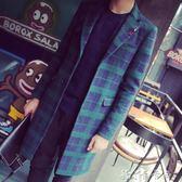 秋冬韓版男士格子修身風衣中長款大衣男青年外套男裝 卡卡西