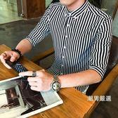 降價最後兩天-男士短袖中袖條紋襯衫男修身青少年發型師五分袖休閒襯衣學生潮白M-5XL6色
