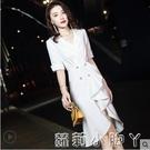 白色晚禮服女2021新款宴會氣質高端輕奢小眾魚尾裙平時可穿小個子 NMS蘿莉新品