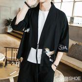 唐裝 春夏刺繡開衫男士漢服中國風外套日式道袍復古飛魚服大碼和服  米蘭shoe