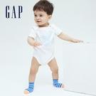 Gap嬰兒 布萊納系列 清爽印花純棉包屁衣 701439-白色