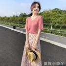 2021夏裝新款法式小眾v領針織過膝雪紡印花長裙兩件套裝洋裝女 蘿莉新品