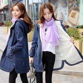 冬季新款韓版牛仔棉衣女中長款加絨加厚大碼寬鬆連帽棉服外套顯瘦 嬌糖小屋