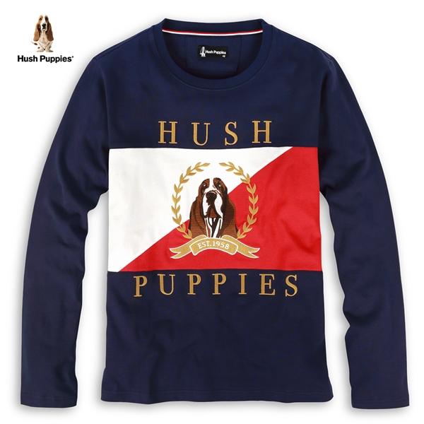 Hush Puppies 上衣 男裝配色拼接刺繡圖騰上衣