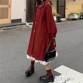 秋冬季新款復古娃娃領蕾絲拼接大衣外套女小個子中長款風衣 新年钜惠