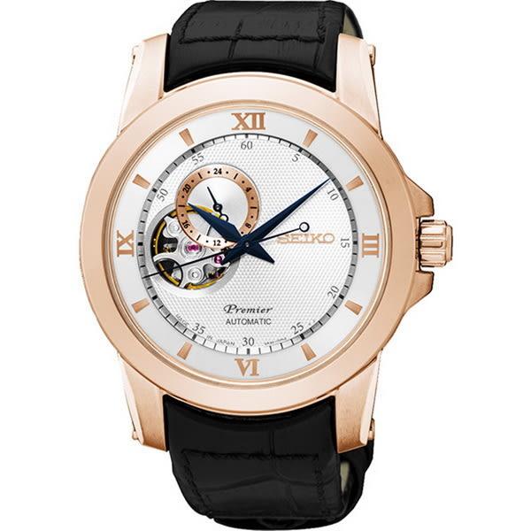 SEIKO 精工Premier 尊爵品味紳士古典皮帶腕錶-黑x玫瑰金4R39-00P0P/SSA326J1