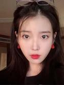 耳環紅色愛心耳釘銀簡約個性氣質網紅高級感復古耳環韓國潮女 新年禮物