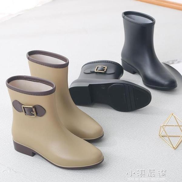夏季雨鞋女韓國可愛時尚款外穿防滑膠鞋中筒水鞋成人短筒雨靴『小淇嚴選』