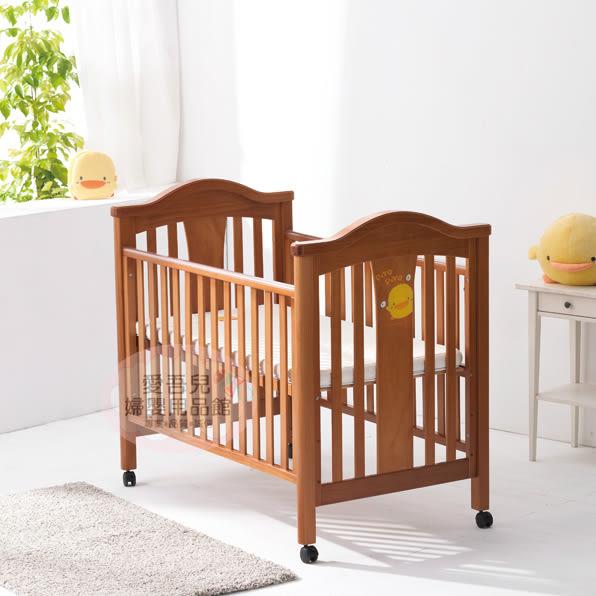 【愛吾兒】黃色小鴨Piyopiyo 豪華松木嬰兒床(含寢具七件組、椰棕嬰兒床墊)