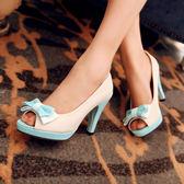 夏季新款高跟鞋韓版甜美蝴蝶結魚嘴鞋