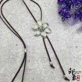 復古民族風手工藏銀花朵長款項鏈 古銀吊墜流蘇女時尚毛衣鏈配飾【聖誕交換禮物】