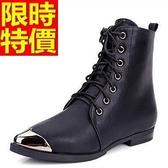 馬丁靴-秋冬新款英倫風系帶真皮中筒女靴子2色65d58【巴黎精品】